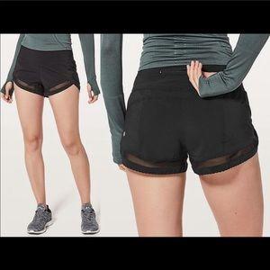 Lululemon time to sweat shorts black mesh size 6